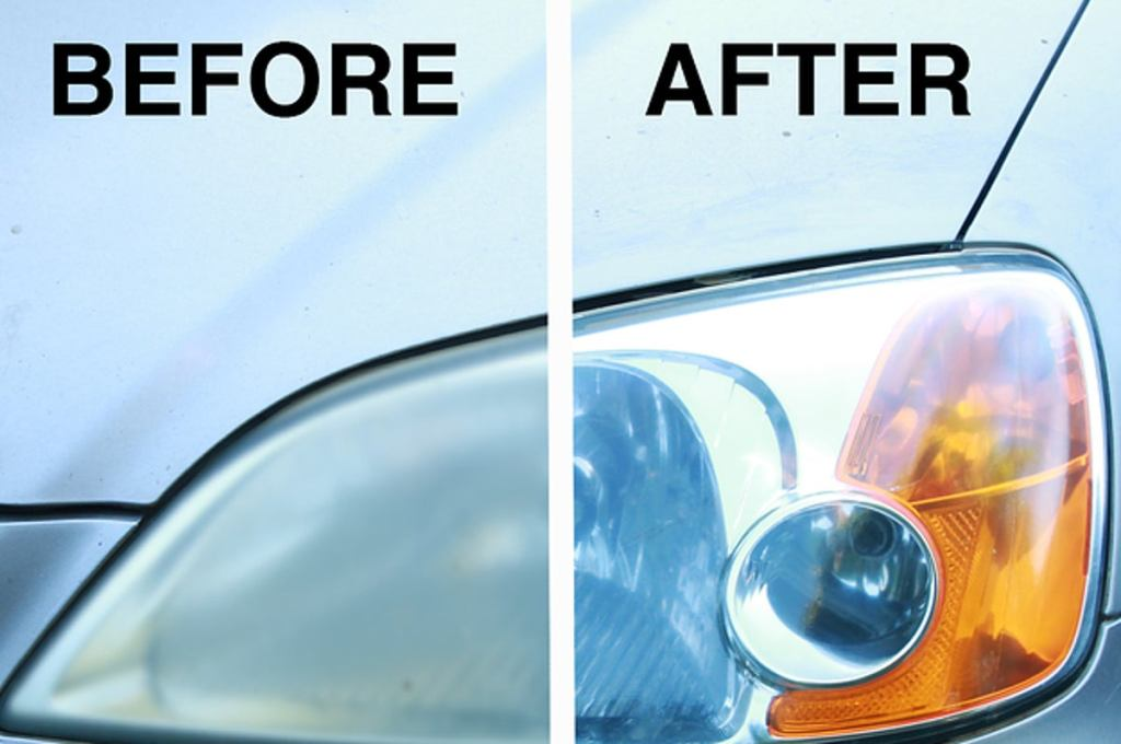 Before and after cleaning headlights with  Lemon And Baking Soda