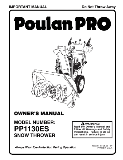 Poulan 96192000700-PP1130ES- Need An Owners Manual