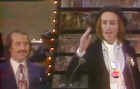 Paul Simon and John Lennon at the Grammys, 1975