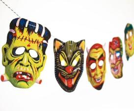 Vintage Halloween Garland, 2-D Funny Masks