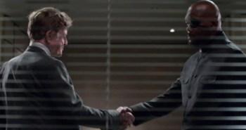 Robert Redford as Alexander Pierce and Samuel L. Jackson as Nick Fury in Captain America: The Winter Soldier