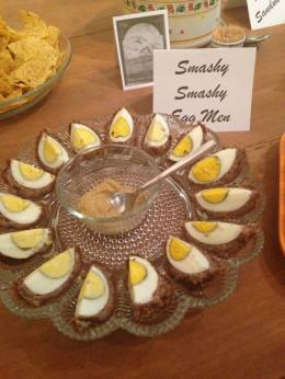 So far nothing we have come up with tonight has been better than Smashy Smashy Egg Men. (scotch eggs with mustard sauce)