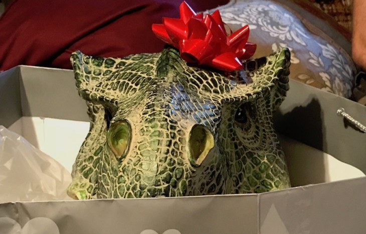 T. rex hiding in a gift bag