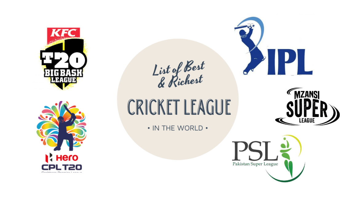 Indian Premier League (IPL), Big Bash League (BBL), Pakistan Super League (PSL), Caribbean Premier League (CPL) Super Smash, T20 Blast, Mzansi Super League (MSL), Bangladesh Premier League (BPL), Sri Lankan Premier League, Euro T20 Slam, Afghanistan Premier League (APL), Champions League Twenty20 (CLT20)