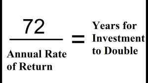 Rule of 72 and years for investment to double