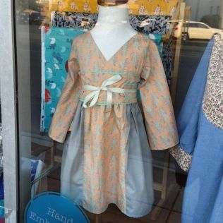 Mod Kid's Kimono dress shop sample out of Art Gallery Fabrics