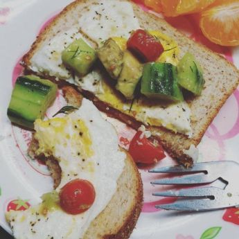 Tomato Avocado Cucumber Salad great on eggs!