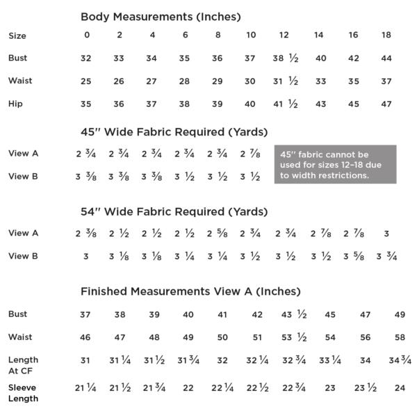 farrow_measurement_chart-600x591 Farrow Dress - Grainline Studio - #13003 - Printed Paper Pattern