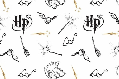 White Literary Double Gauze Harry Potter # 23800145LE-1