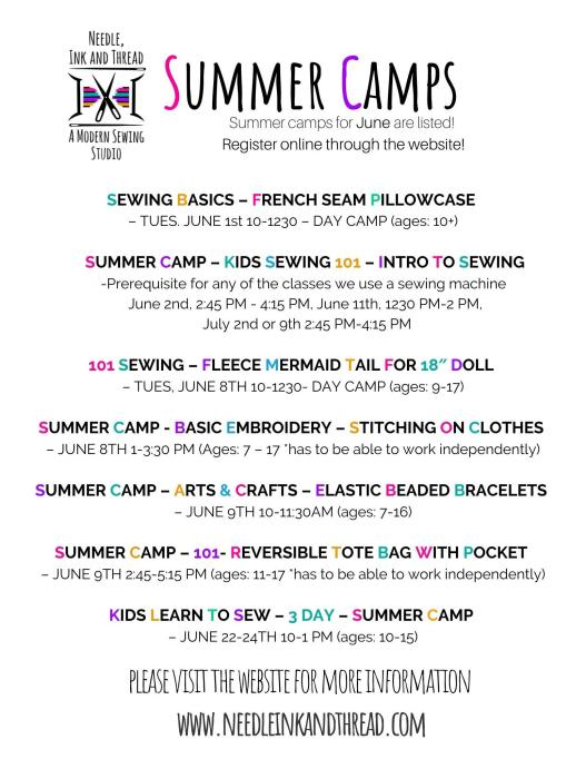 Summer camps at the studio