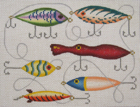 JP Needlepoint Squiddy And Lures Needle Nook