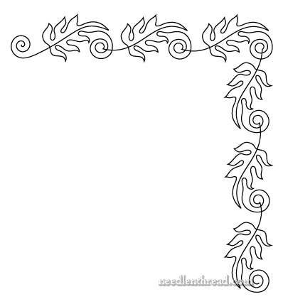 Free Hand Embroidery Pattern: Leafy Corner