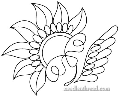 Free Hand Embroidery Pattern: Stylized Flower Inspired by