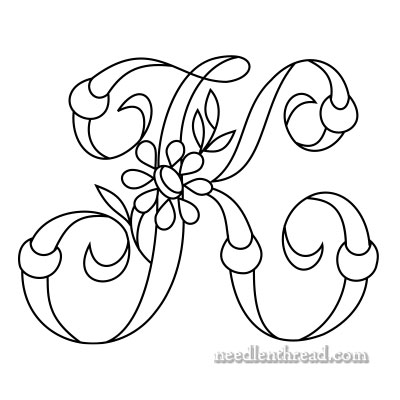 Monograms for Hand Embroidery: K, L Daisy & Rings