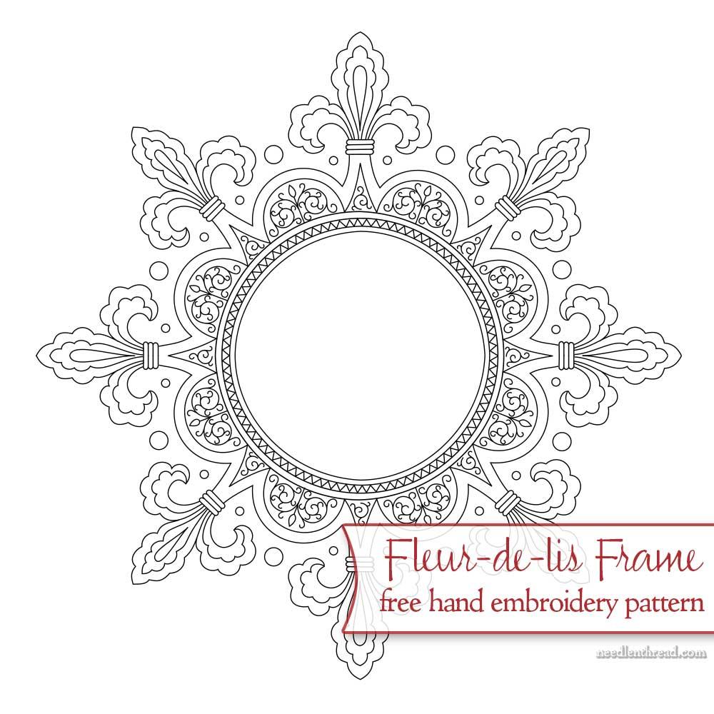 Fleur-de-lis Frame: Free Hand Embroidery Pattern