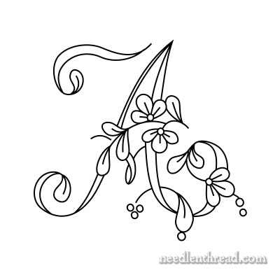 Floral Script Monogram for Embroidery