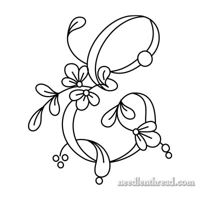 Floral Script Monograms for Embroidery: E-H