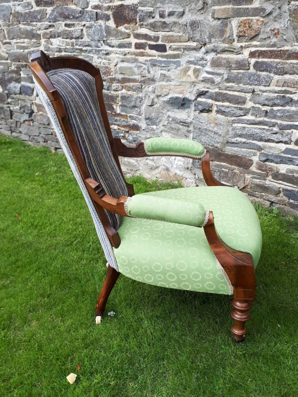 Grandmother chair with Granny Smith and contrasting aubergine stripe.