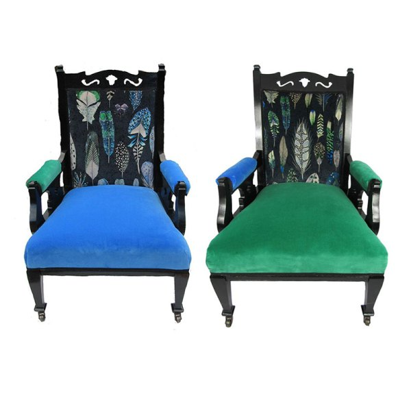 Ladies and Gentleman Chairs - A harlequin pair!