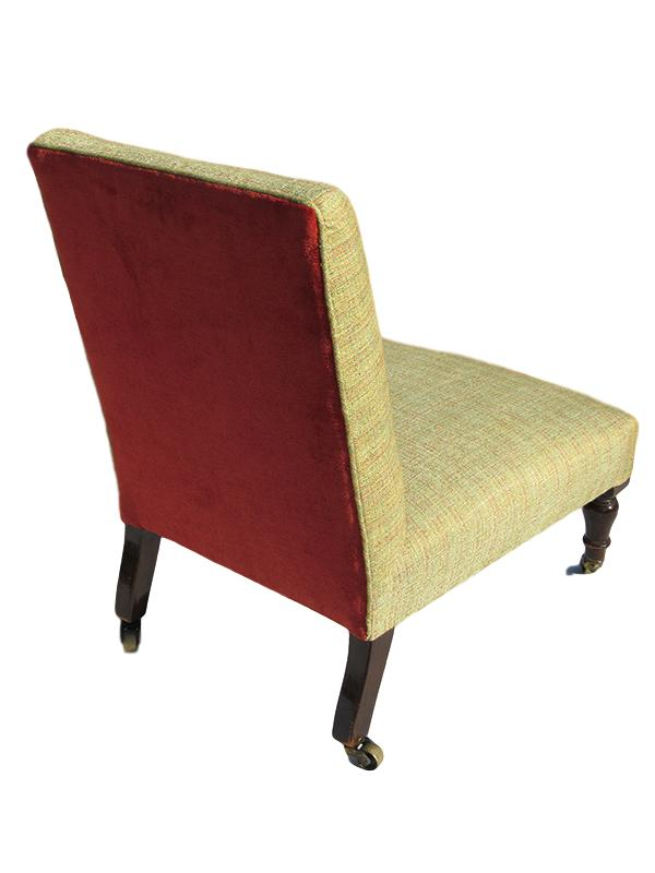 Victorian Nursing Chair showing the contrast of the burnt-orange back.