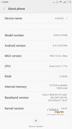 ROM Miuipro V6 5.5.8 for Gionee S5.5 (Chip MTK6592