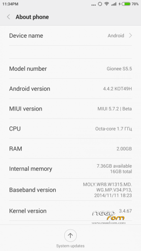 ROM Rom Miuipro V6 5.7.2 for Gionee S5.5 (Chip MTK6592
