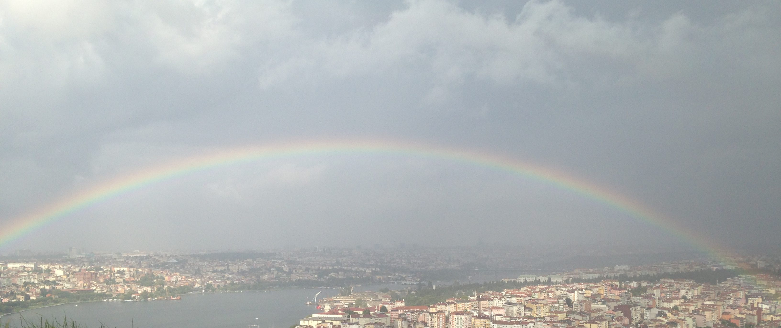 Rainbow over the Golden Horn in Istanbul
