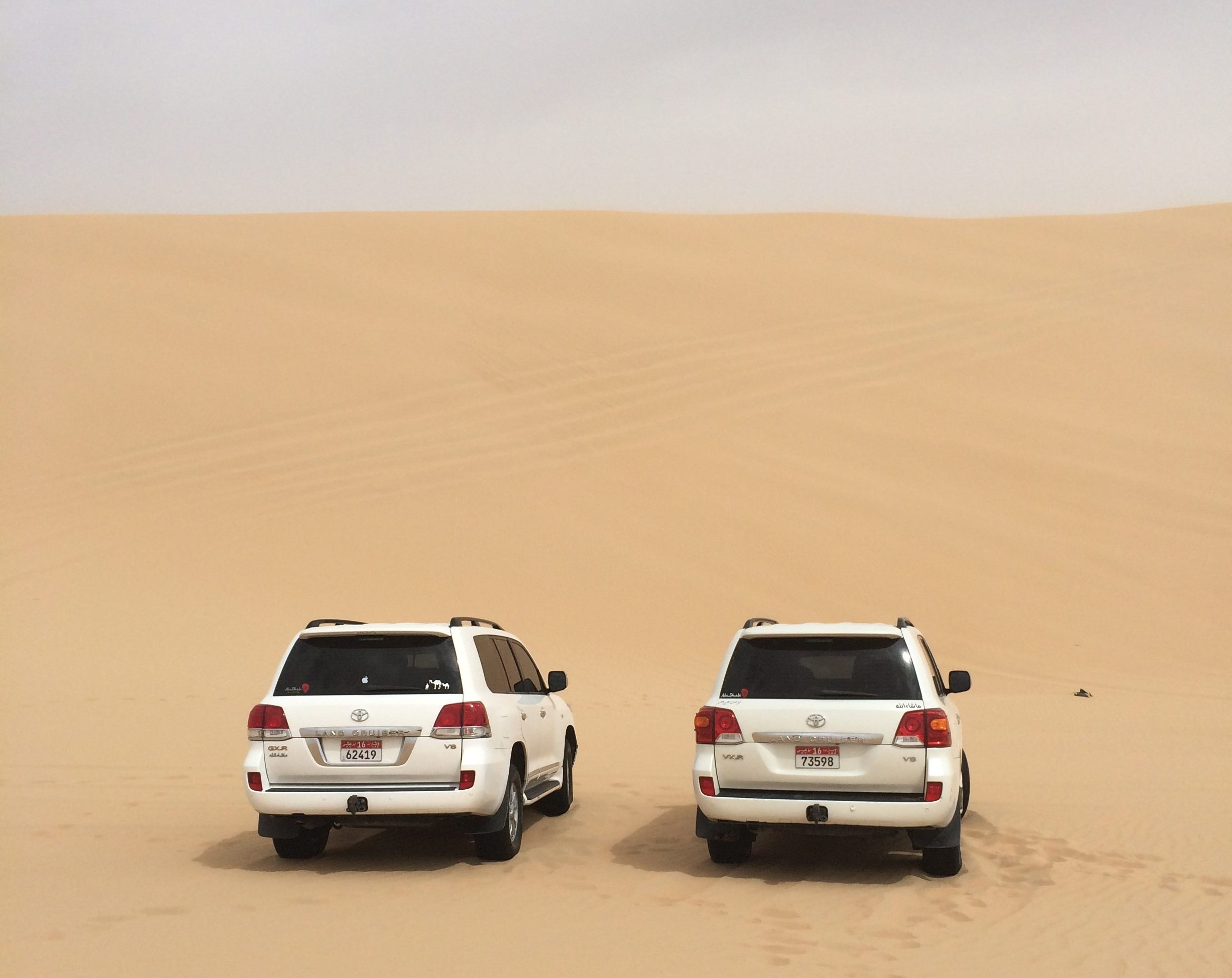 two white SUVs in the desert