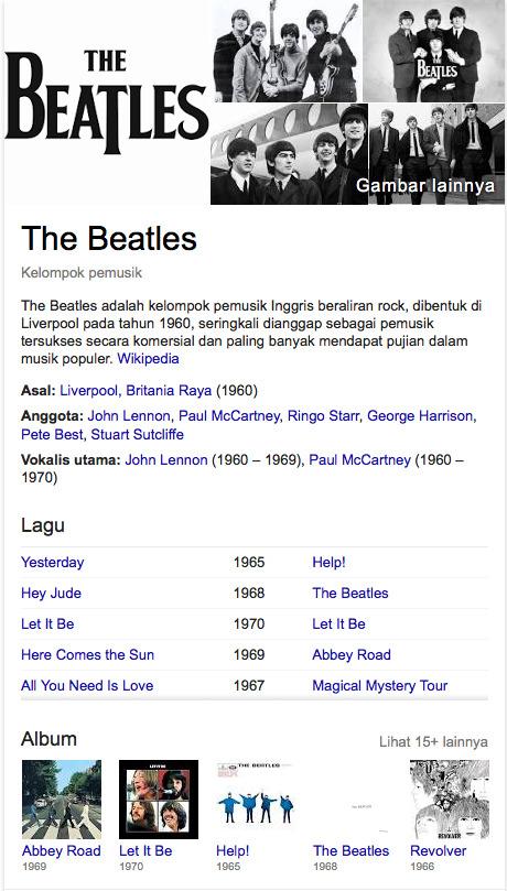 The Beatles nama nama grup terpopuler