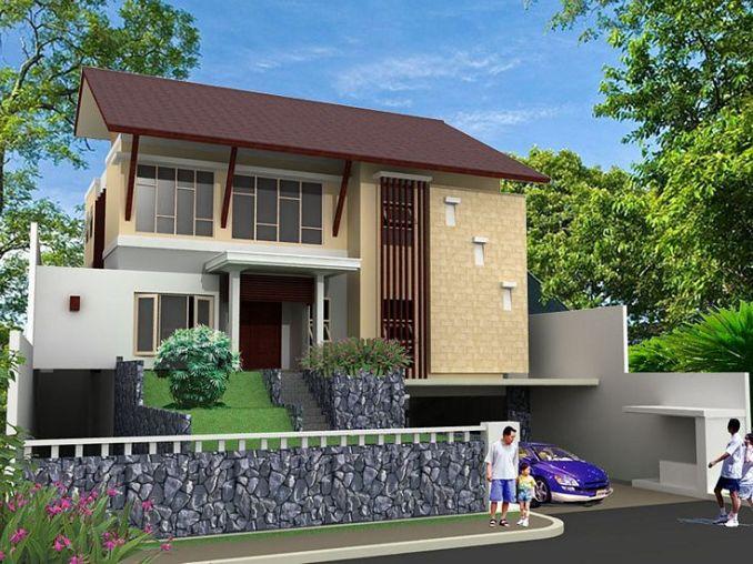 Gambar Desain Rumah Minimalis 2 Lantai Tampak Depan Bertema Tropis
