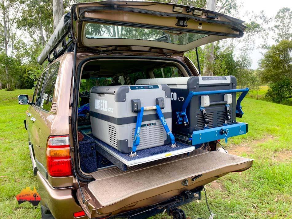 Dual Waeco fridge in back of Landcruiser