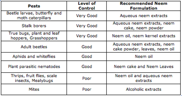 USE OF NEEM OIL