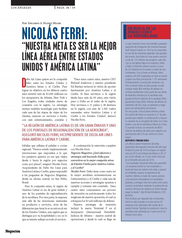 """NICOLÁS FERRI: """"NUESTRA META ES SER LA MEJOR LÍNEA AÉREA ENTRE ..."""