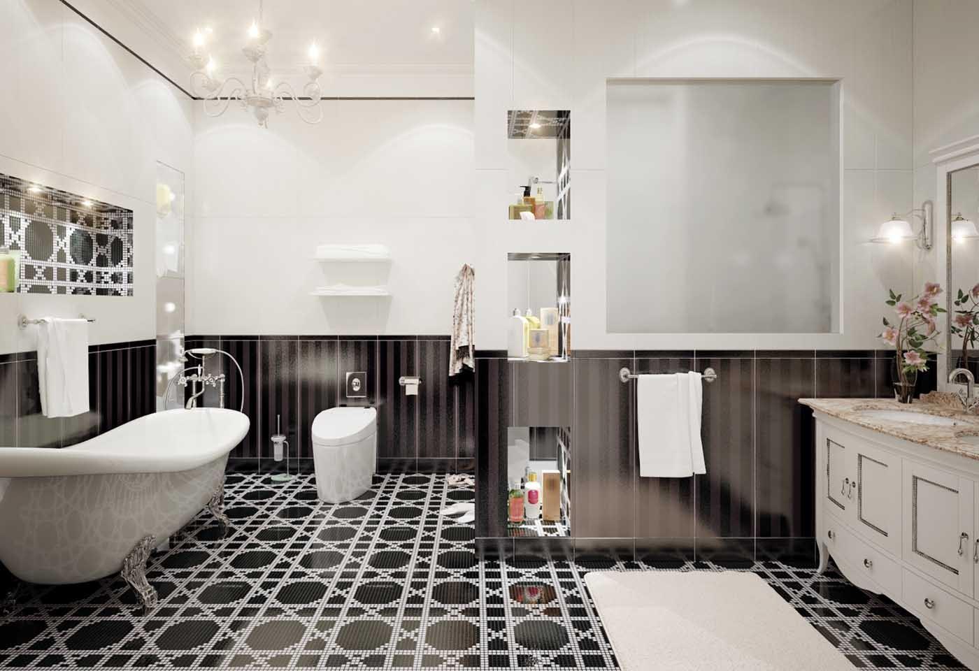 Bagno Bianco E Nero Bagno Bianco E Nero Moderno Con Bagno