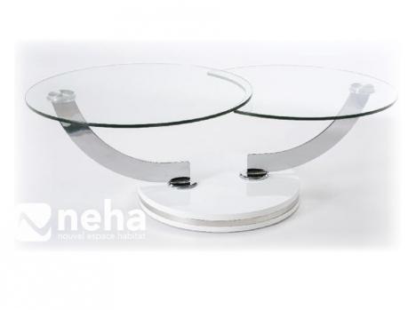 table salon ronde evolution verre
