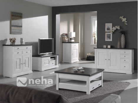 meuble salon bois massif blanc meuble