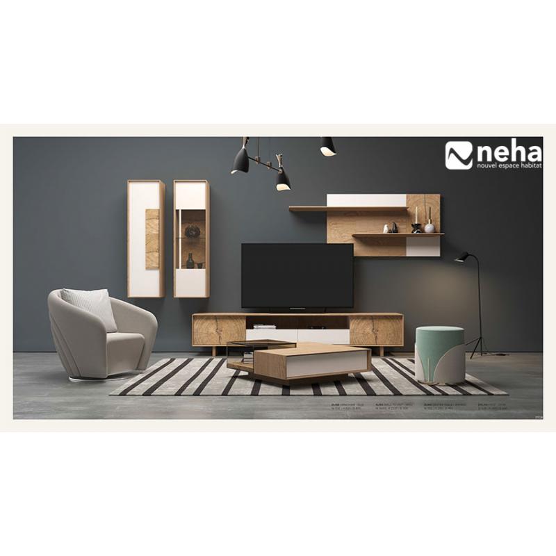 meuble tv composable laque et bois