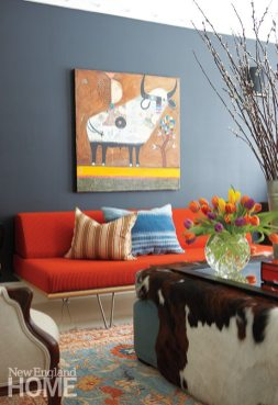 Nashville, Tennessee, artist Nathaniel Mather's painting hangs above the library's vibrant daybed.