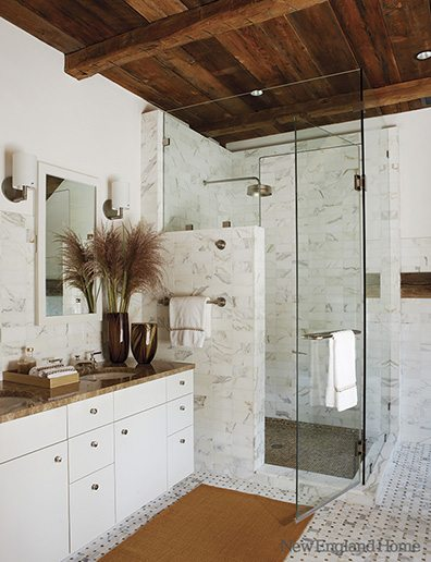 The effect works in the bathroom as well, as Connecticut architect Reese Owens and designer Karen Davis show here. Photo by Michael Partenio for New England Home; click to see more of this house.