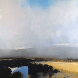 "Reflecting Blue Meadows Edge (2001), oil on linen, 60"" x 60"""