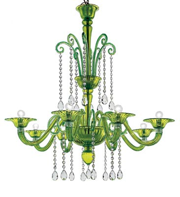 The Erfund chandelier from Barovier and Tosso, the oldest family-owned hand-blown glass company in the world, will banish forever the idea that crystal lights belong in crusty ballrooms. This could easily become, quite literally, the jewel in a room's crown. Available in six colors and four sizes including this eight-arm version. AS SHOWN, $9,474. THE MORSON COLLECTION, BOSTON, (617) 482-2335, THEMORSONCOLLECTION.COM