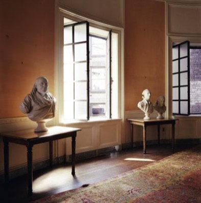 Boston Athenaeum: Before renovation—trustee's room with three busts (1998), 40 x 40""