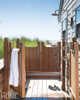 Custom mahogany saloon-style doors on the oft-used outdoor shower are both fun and functional, opening in and out.
