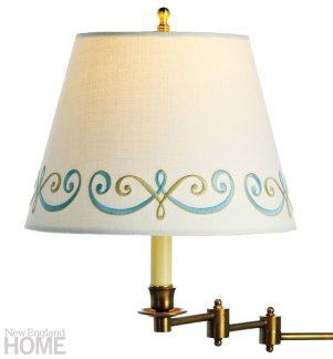"Savannah,"" a linen shade with a custom-embroidered border."