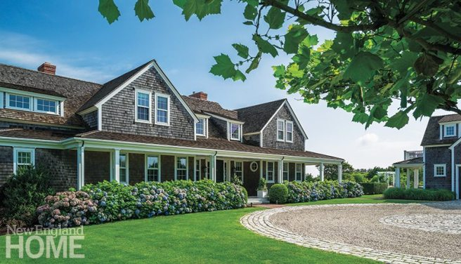 Sudbury Design Group's landscaping plan includes a generous swath of hydrangeas that enhance the appeal of the handsome shingled house. Architects Lisa Botticelli and Ray Pohl's design incorporates the classic details beloved by Nantucket residents.