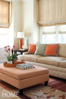 The sitting room takes a warmer and more colorful turn; in here, comfort comes first.