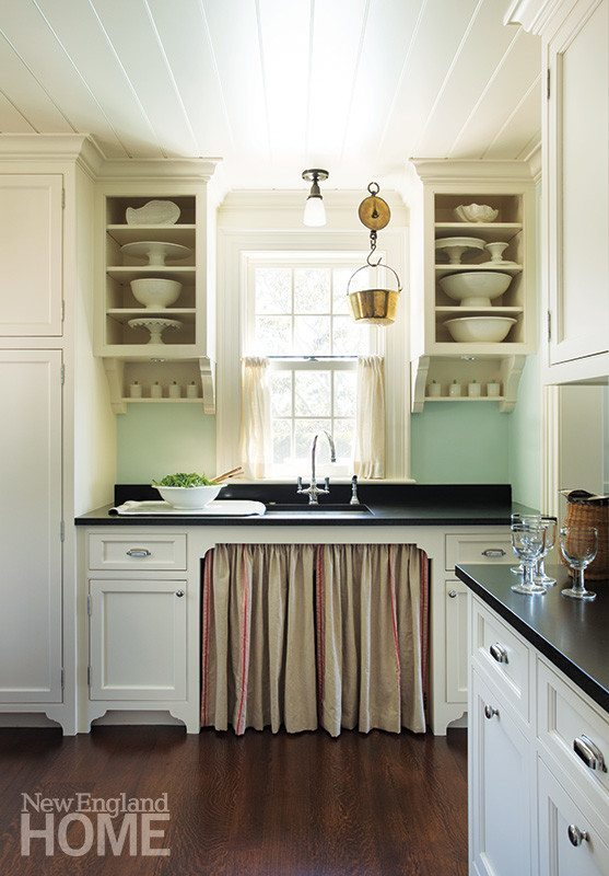 open metal shelving kitchen cheap white chairs the old house & sea - new england home magazine