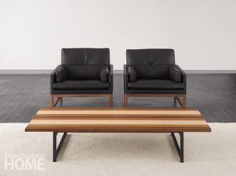 Because the Stripe Series borrows structural principles from architecture, this solid wood coffee table is surprisingly light.