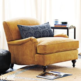 """Miramar Chair in Honey Suede """"The warmth of suede paired with rolled arms and turned legs make this classic club chair a great addition, and must have, for any modern home."""" Serena & Lily, (866) 597-2742, serenaandlily.com"""