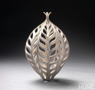 Wheat Bottle (2009), porcelain, 9″H × 6″W.